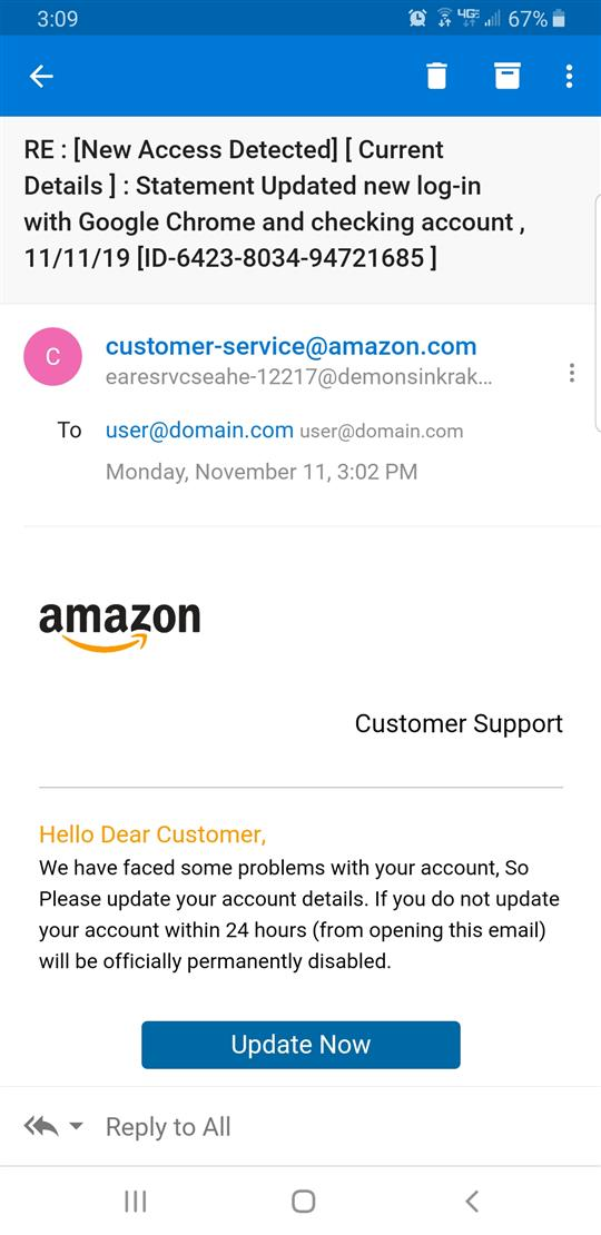 Amazon phishing scam email