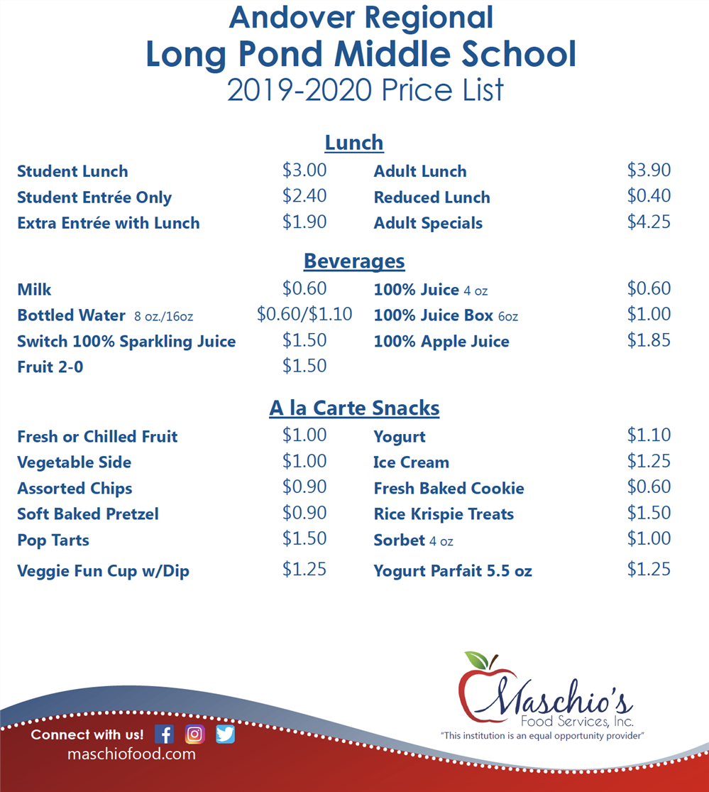 Long Pond Middle School Price List